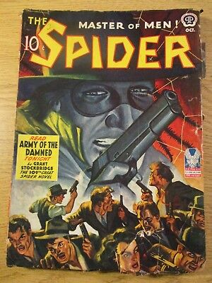 Spider Pulp Oct 1942 Classic Spider Cover Art With Many Gun Toting Bad Guys