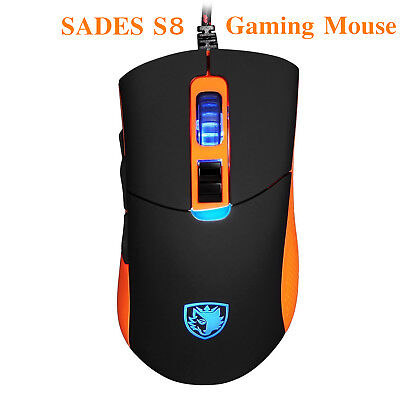 SADES S8 Gaming Mouse USB Wired Backlit 2500 DPI 8 Button for PC Computer Laptop