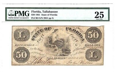 1861 State of Florida Tallahassee $50 Obsolete Note FLCR3 PMG 25 VERY FINE