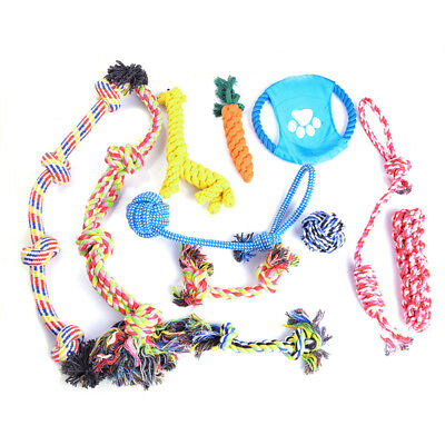 Puppy Dog Pet Tough Chew Toy Cotton Braided Bone Tug Play Game Rope Knot Toy