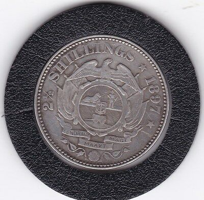 1897  South  Africa  2 1/2  Shillings  Silver  Coin