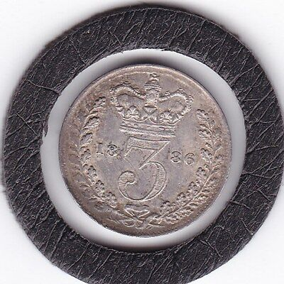 1886   Queen  Victoria  Threepence  (3d)  Solid Silver (92.5%) Coin