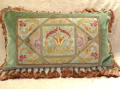 BEAUTIFUL ANTIQUE SILK EMBROIDERED SOUTACHE TAPESTRY PILLOW w EXOTIC VIBE