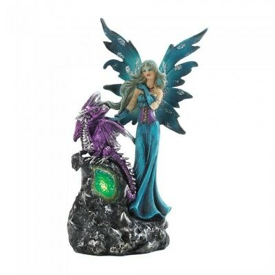 Mystical Fairy Purple Dragon Gothic Lighted Statue Figurine Legend Myth Magic