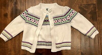 BABY GIRL CARTERS Cardigan Fair Isle 3 Button 24 Months Warm Winter ... c0421669b