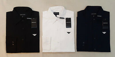 Mens Emporio Armani Ea7 Poplin Smart Long Sleeve Shirt - Black Navy White