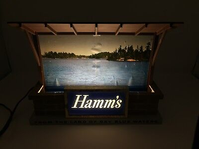 Hamm's Beer Cabin By The Lake Lighted Sign Vintage
