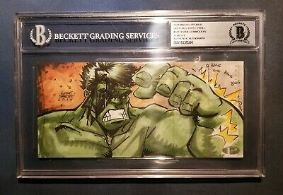 Stan Lee Signed Upper Deck 2014 UD Marvel Premier Art Sketch Card Hulk 1/1 BAS