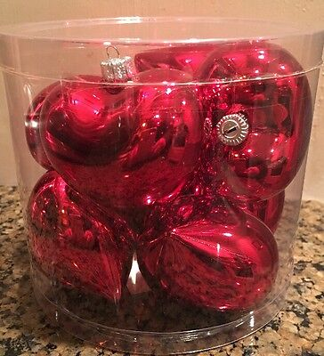 Red Heart Shaped Ornaments Lot of 8 Shiny Puff Holiday Valentine's Day NIB