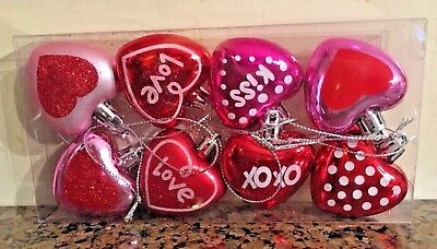 Conversation Heart Ornaments Valentine's Day NEW Pink Red Love Shatterproof