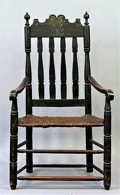 Rare 18th Century Wm and Mary Bannister Back Arm Chair w Sunflower Carved Crest