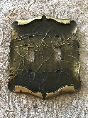 Vintage Amerock Antique Brass Double 2 Toggle Light Switch Cover Plate