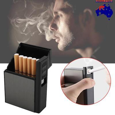 New 2 in 1 Cigarette Case Lighter USB Recharge Flameless Windproof 20 Cigarettes