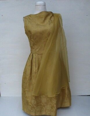 Vintage 60s Dress sz 14 Gold Brocade Knee length Sleeveless Fit Flare Dressy