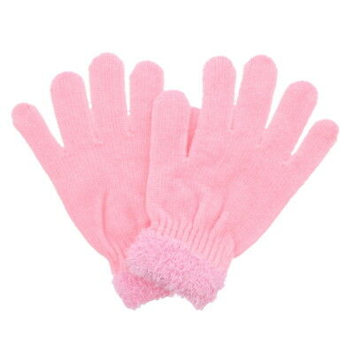 Girls Chenille Knit Winter Gloves with Fur on Top Womens Warm Pink Glove
