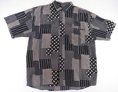 Vintage 80S 90S Abstract Patchwork All Over Print Silk Button Up Shirt Mens L