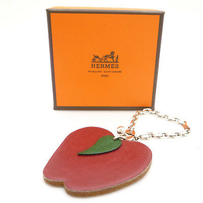 Authentic HERMES Apple Motif Key Ring Holder Red Leather #S211011
