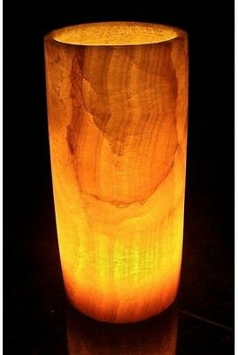 Egyptian Alabaster Table Accent Lamp ~ Hand Carved Cylinder ~ Soft Glow Light