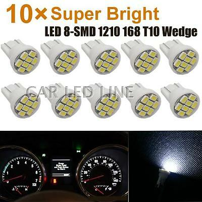 10) White LED Dashboard Instrument Panel Indicator Light Bulb T10 W5W for Toyota