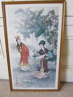 Beautiful 70cm X 35cm Antique Framed Signed Japanese Block Print Number 2 of 3