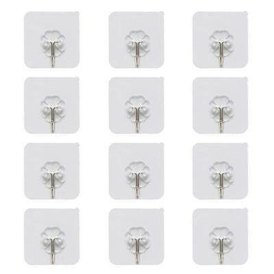 12x Self Adhesive Wall-Sticky Hooks Holder Heavy Duty Nail Free Clear Non-trace