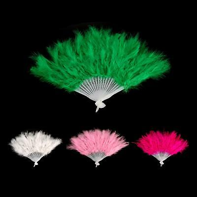 Foldable Feather Fan Fluffy Showgirl Dance Stage Costume Party Cosplay 4 Color