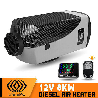 8KW 12V Diesel Air Heater Remote Control Silencer LCD For Truck Boat Car Trailer