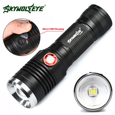 Zoomable CREE XM-L2 LED 18650 Battery USB Rechargeable Flashlight Torch Lamp