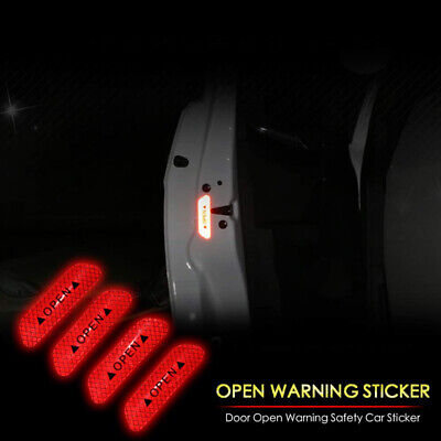 4x Red Car Door Open Sticker Reflective Tape Safety Warning Decal Universal