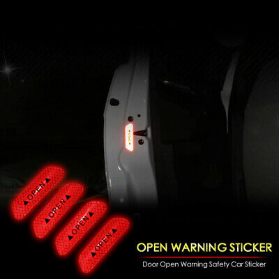 Red Car Auto Door Open Sticker Reflective Tape Safety Warning Decal