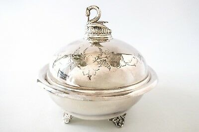 Antique Silver Plate Butter Dish Figural Swan Butter Dome With Insert Wilcox