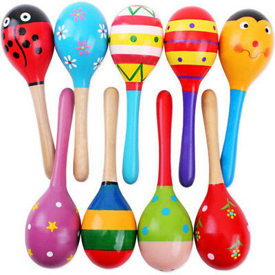 Colorful Wood Maracas Baby Child Kids Musical Instrument Rattle Shaker Party Toy