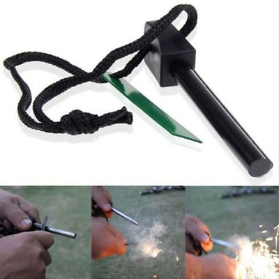 New Camp Emergency Rod Flint Stone Fire Starter Striker Lighter Survival Outdoor