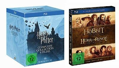 Harry Potter Box Teil 1-7.2 + Herr der Ringe 1-3 + Hobbit 1-3 Blu-ray Set NEU