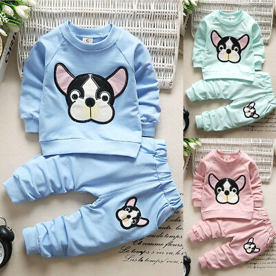 2PCS Baby Boys Girls Kids Animals Clothes Long Sleeve T-shirt+Pants Outfits Set