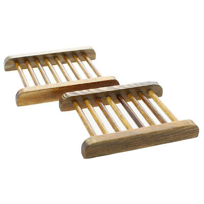 W9G1 Wooden Soap Dish Holder Tray - 2pc Natural Wood Design:Carbonized color