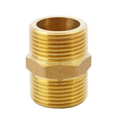 """D5N8 Brass 3/4"""" PT to 3/4"""" PT Male Thread Hex Nipple Piping Quick Coupler A5K1"""