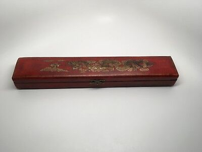 "Vintage Chinese Lidded Chopstick Box ""Dragon & Flaming Pearl"" Design"