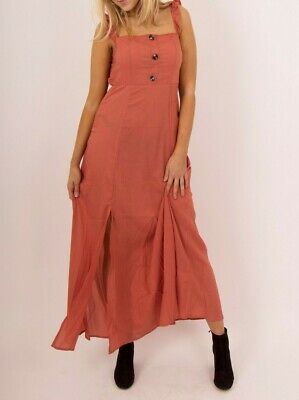New Ladies Womens Summer Long Dress With Button Detail Frill Strappy Sleeve 6-12
