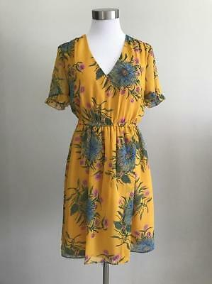 MADEWELL $158 Sweetgrass Ruffle-Sleeve Dress in Painted Blooms Sz 10 Gold J0668