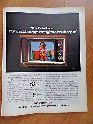 1970 Sony Trinitron TV Ad My Wash is not Just Brighter It's Sharper