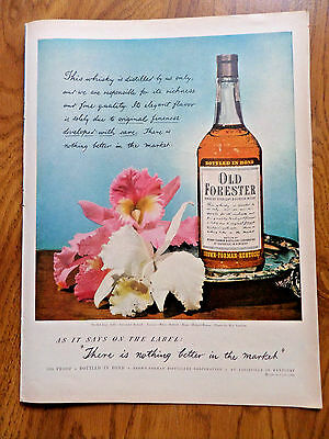 1950 Old Forester Whiskey Ad Nothing better in Market Orchid Hybrid Flowers