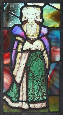 Antique LEADED STAINED GLASS Panel -  Anne of Cleves  - We Ship Worldwide