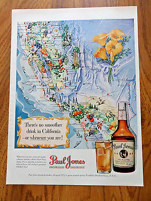 1950 Paul Jones Whiskey Ad Map of the State of California