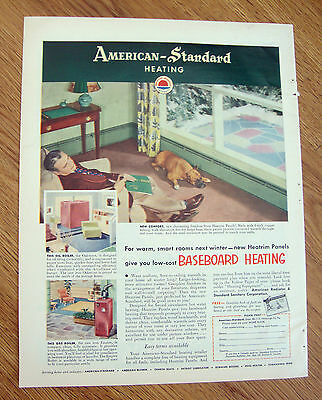 1952 American-Standard Ad  New Baseboard Heating Boxer Dog & Dad Sleeping