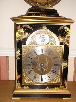 Elliott Large Black Chinoiserie 3 Train Bracket Clock  2 Large Chinoiserie Lamps