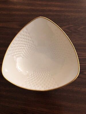 Lenox China 3 Sided Candy Dish with 14K Gold Trim