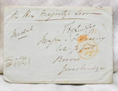 1849 Great Britain Stampless Cover Medal Award  70th British Regiment Letter