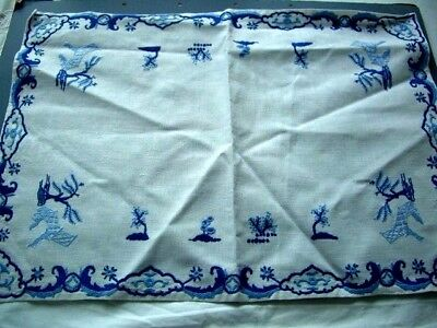 Needlepoint/Cotton,Hand Made - Blues on White Linen -1 Finished piece 55 x 39cms