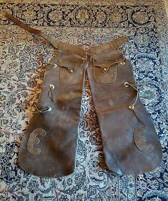 "Antique Vintage Batwing Chaps-North&Judd Anchor Buckle-Conchos-Front Pockets""E"""